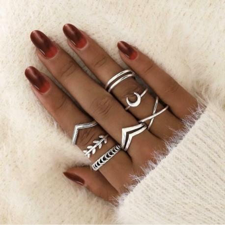 7db / készlet ezüst * - 20db Boho verem sima felett csülök gyűrű Midi ujjhegy gyűrűk készlet ezüst / arany