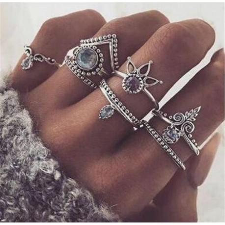 8db / Set Silver * 1 - 20db Boho verem sima felett csülök gyűrű Midi ujjhegy gyűrűk készlet ezüst / arany
