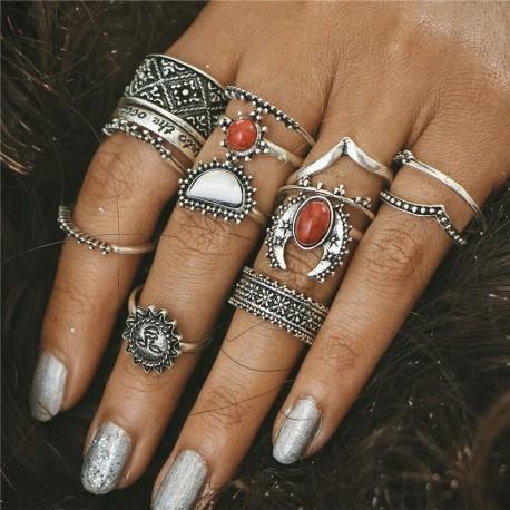 14db / készlet ezüst - 20db Boho verem sima felett csülök gyűrű Midi ujjhegy gyűrűk készlet ezüst / arany