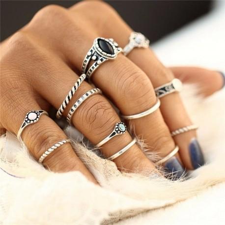 12db / készlet ezüst - 20db Boho verem sima felett csülök gyűrű Midi ujjhegy gyűrűk készlet ezüst / arany