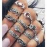 11db Arrow Moon (ezüst) - 20db Boho verem sima felett csülök gyűrű Midi ujjhegy gyűrűk készlet ezüst / arany