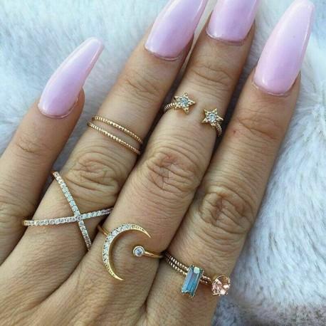 7db / arany készlet 2 * - 20db Boho verem sima felett csülök gyűrű Midi ujjhegy gyűrűk készlet ezüst / arany