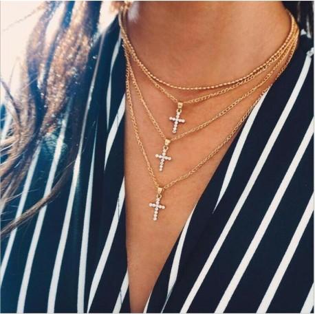 * 5 Arany többrétegű kereszt Penda ... - Női Boho többrétegű choker hosszú lánc állítás nyaklánc medál ékszer