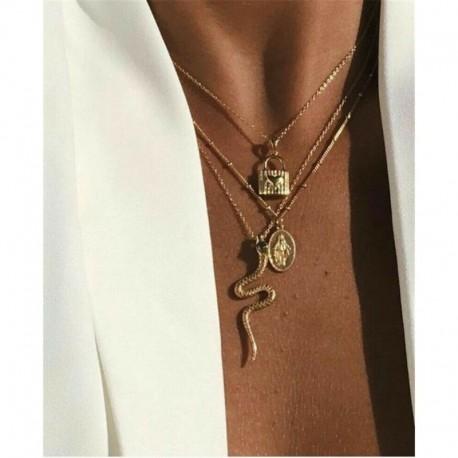 * 32 Arany szerpentin szűz ... - Női Boho többrétegű choker hosszú lánc állítás nyaklánc medál ékszer ajándék