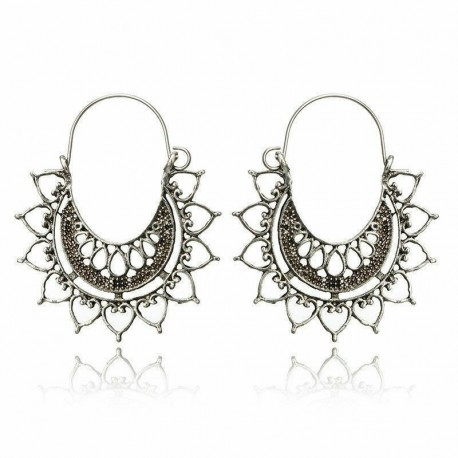 * 6 Ezüst - Vintage Boho etnikai bojt fülbevalók türkiz gyöngyökkel horog női füllengő ajándék