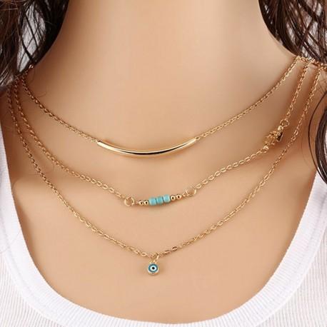 * 6 Kék szem medál - Többrétegű női női ötvözet kulcscsont choker nyaklánc bűbáj lánc ékszerek