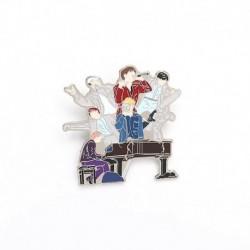 Színes - BTS csoportképes zománc kitűző - KPOP - BTS - Bangtan Boys