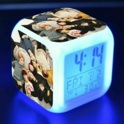 BTS csoportképes - Színváltós LED ébresztőóra naptárral és hőmérővel - KPOP - BTS - Bangtan Boys - 6