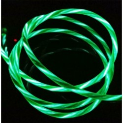 C típusú zöld - Áramló LED világít USB szinkron töltő adatkábel töltőkábel C típusú telefonhoz