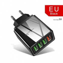 EU csatlakozó (fekete) - USA / EU / Egyesült Királyság 4 portos QC3.0 gyors gyorstöltő USB hub fali töltő hálózati