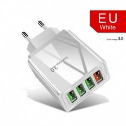 EU csatlakozó (fehér) - USA / EU / Egyesült Királyság 4 portos QC3.0 gyors gyorstöltő USB hub fali töltő hálózati