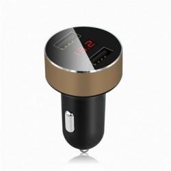 Arany - 3.1A LED kettős USB autós töltő 2 portos LCD kijelző 12-24V-os cigarettagyújtó