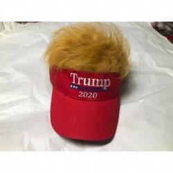 Nincs szín - TRUMP Narancssárga haj paróka visor sapka vicc újdonság gag ajándék piros hamis szőrme kalap MAGA 2020