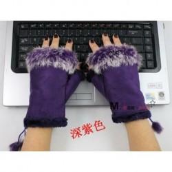 Lila - Meleg stílusos női valódi nyúlszőrme kézcsukló melegítő ujj nélküli téli kesztyű