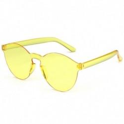sárga - Candy átlátszó női napszemüveg szemüveg lencse műanyag színes férfi kerek darab