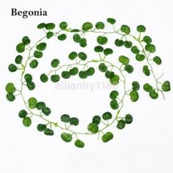 Begónia - 2M mesterséges borostyánlevél füzér zöld növény műanyag lombozat otthoni kerti dekoráció