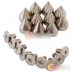 100db 9.5mm ezüst színű kúp alakú punk szegecs