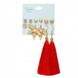 * 07 - 6 pár / szett Boho bojt kristály gyöngy fülbevaló szett női fülcsavaró ékszerekkel