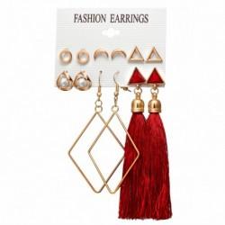 * 01 - 6 pár / szett Boho bojt kristály gyöngy fülbevaló szett női fülcsavaró ékszerekkel