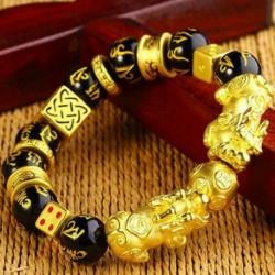 G - Feng Shui fekete Obsidian Pixiu ötvözetből készült karkötő vonzza a gazdagságot és a jó szerencsét biztosító