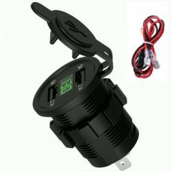 Zöld számjegy - 12V autós szivargyújtó aljzat 4.2A kettős USB port LED töltő tápegység 24V