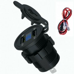 Kék számjegy - 12V autós szivargyújtó aljzat 4.2A kettős USB port LED töltő tápegység 24V