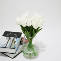 fehér - 10db mesterséges hamis virágcsokor tulipán házi menyasszonyi esküvői selyem dekoráció
