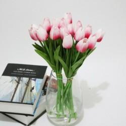 Rózsaszín - 10db mesterséges hamis virágcsokor tulipán házi menyasszonyi esküvői selyem dekoráció