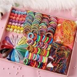 Nincs szín - 220db Candy Color hajcsipesz kötél lófarok tartó lányok gyerekeknek haj kiegészítők!