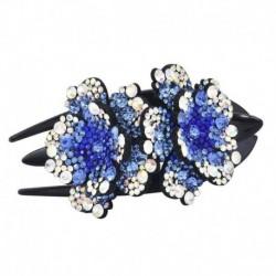 Kék - Női haj karom haj strassz kristály hajtű klip ékszerek virág divat hajtű