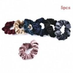 Vegyes szín - 5 db bársony rugalmas gumikötél nyakkendő Scrunchie lófarok tartó női kiegészítők