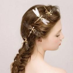 Nincs szín - Szitakötő hajcsat gyöngy menyasszonyi fejdísz arany hajtűk divat esküvői ékszerek