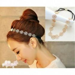 Nincs szín - Új divat Lovely Metallic Lady Hollow Rose Flower elasztikus hajpánt fejpánt J