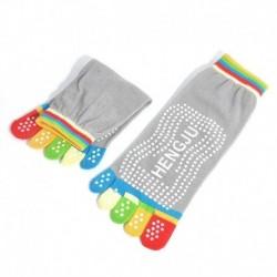 Szürke 2 - 1 pár női pamut 5-toe jóga tornaterem csúszásmentes masszázs lábujj zokni teljes markolat színes