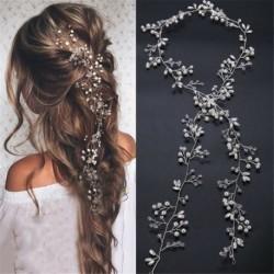Nincs szín - 35cm gyöngy esküvői hajszőlő kristály menyasszonyi kiegészítők Diamante fejpánt ajándék