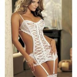 fehér - Női szexi csipke fehérnemű Babydoll ruha fehérnemű fekete-fehér hálóing G-string