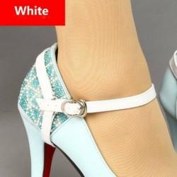 fehér - Állítható levehető PU bőr cipőszíjak, amelyek laza, magas sarkú cipőt tartanak
