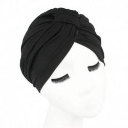 Fekete - Női indiai nyújtható kemo rakott turbán sapka fejfedő fejpakolás Hidzsáb sapka