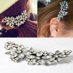 Nincs szín - Női virág kristály strasszos fejpánt menyasszonyi esküvői hajcsipesz fésűs ajándék