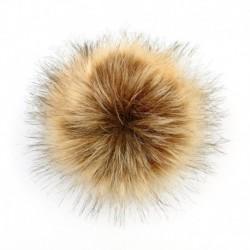Természetes 2 * - 11 cm-es nagyméretű mosómedve szőrme Pom Pom labda nyomógombbal a kötött sapka barkácsolásához