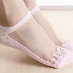 4 - Női szexi puszta selymes csillogó necc hálós fodros boka rövid zokni harisnya