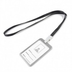 Fekete kötél   ezüst - Alumínium zsebes hitelkártya-jelvénytábla-tulajdonos huzattartó nyakpántos zsinórral