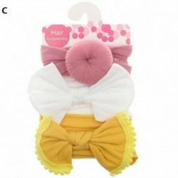C - 3db baba gyerek lányok kisgyermek íj csomós hajpánt fejpánt nyújtó turbán fejpánt