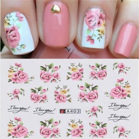 Nincs szín - 2 lepedő Nail Art vízátadó matrica rózsaszín rózsa virág tippek manikűr dekorációval