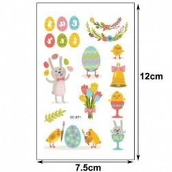 10 * - Húsvéti gyerekek rajzfilm ideiglenes tojásos állat tetováló matricák fél napi matricák