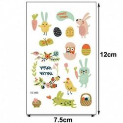 12 * - Húsvéti gyerekek rajzfilm ideiglenes tojásos állat tetováló matricák fél napi matricák