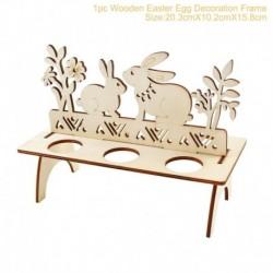 Nyúl tojástartó - Fából készült kézműves nyúl tojás díszek dekoratív húsvéti nyuszi DIY házibuli dekoráció