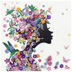 Nincs szín - 5D barkácsolás alakú gyémántfestésű lány keresztszemes mozaik kézműves készlet