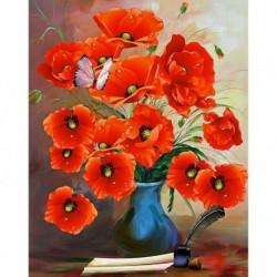 15 * Virág-B1543 30 x 40 cm - 5D kerek gyémántfestés Stickerei Bild Handarbeiten lakberendezési mozaik készlet