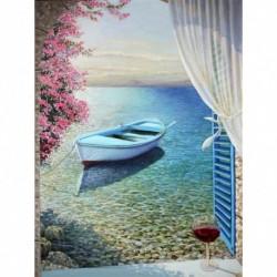 Nincs szín - Hajó strasszos kerek falú kép 5D DIY gyémántfesték készlet (B162)